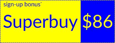 Superbuy welcome bonus coupon, left orientation