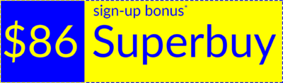 Superbuy welcome bonus coupon, slim version, right orientation