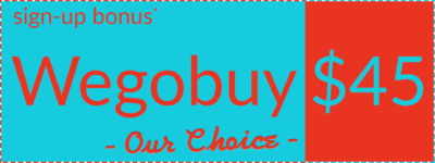 "Wegobuy welcome bonus coupon symbolling ""Our Choice"", left orientation"