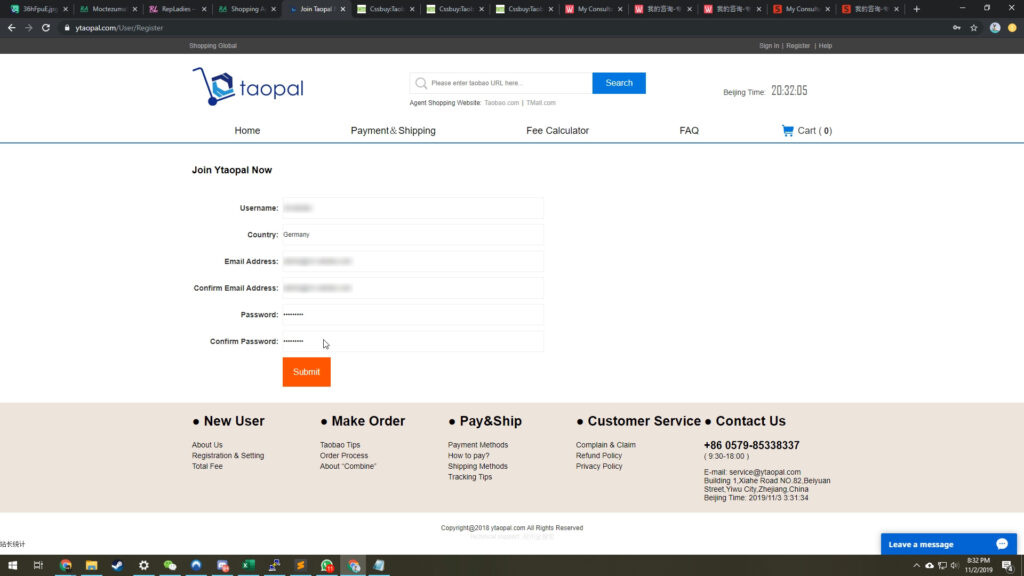 Ytaopal Account Creation Page
