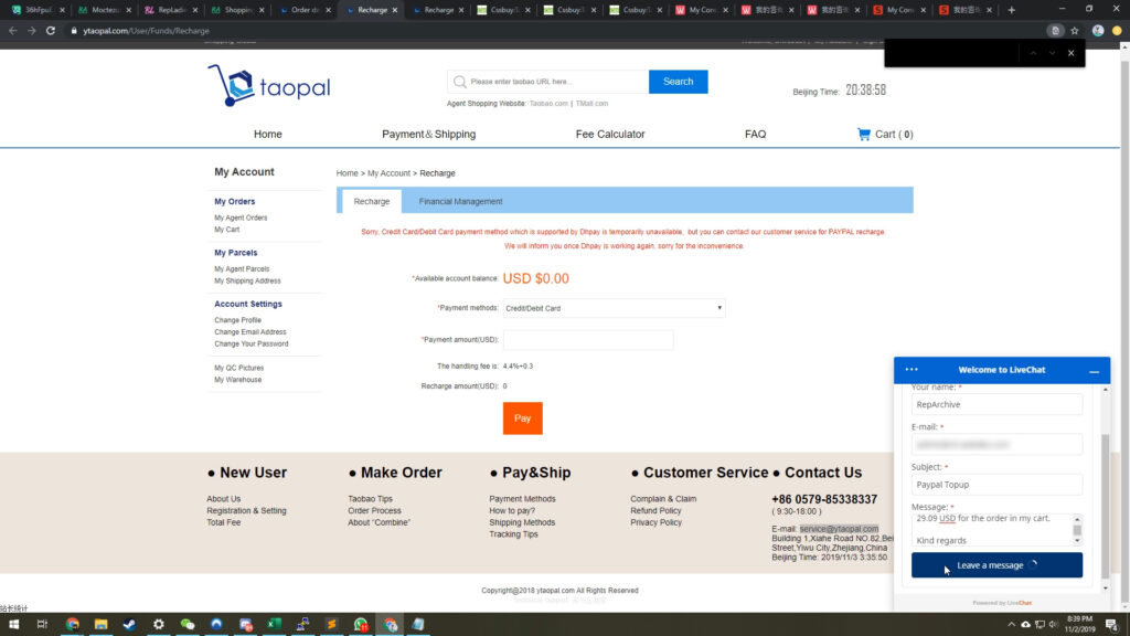 Ytaopal paypay inquiry through live chat
