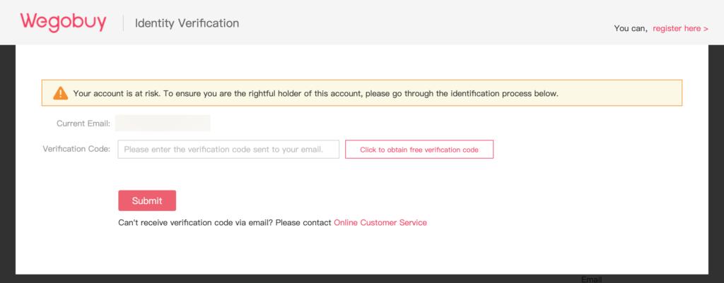 wegobuy verification code