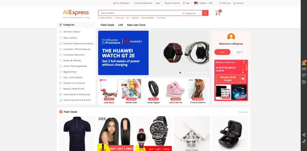AliExpress Homepage Screenshot